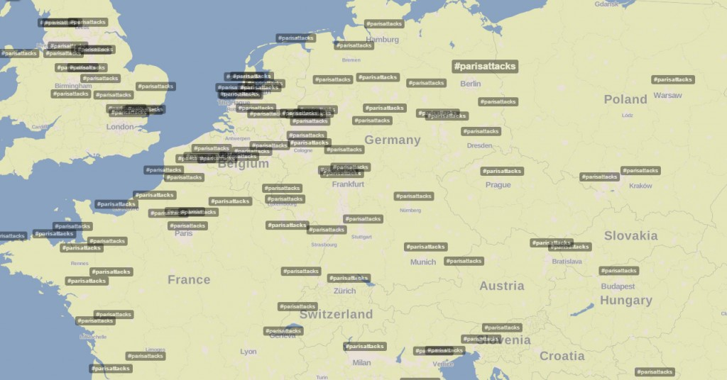 hashtag map parisattacks Europe
