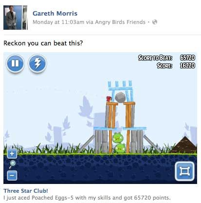 News Feed minihra Angry Birds Friends